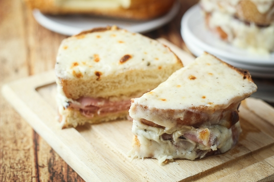 Croque Monsieur, a French grilled cheese with ham sandwich that is slathered with delicious bechamel sauce for a satisfying meal!