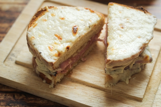 Croque Monsieur, a Ham and Cheese Sandwich France Style that is slathered with delicious bechamel sauce for a satisfying meal!