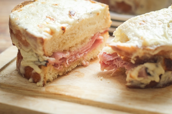 Looking for a recipe for Croque Monsieur?  Here is a great one! Croque Monsieur, a French ham and cheese sandwich that is slathered with delicious bechamel sauce for a satisfying meal!