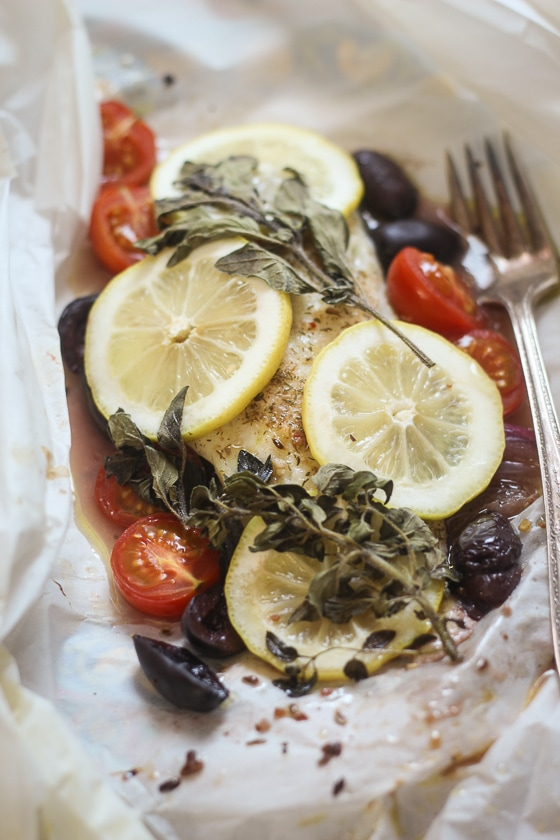 Greek fish en papillote the wanderlust kitchen for Greek fish recipes