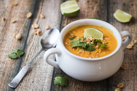 This delicious Thai Sweet Potato Carrot and Coconut Soup recipe features sweet potatoes, carrots, yellow onion, garlic, coconut milk and spices for a flavorful soup!