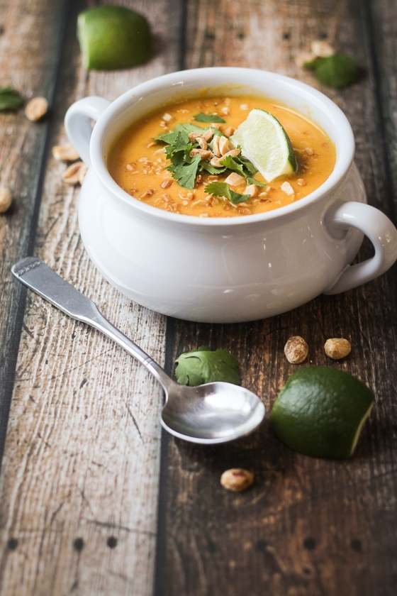 This delicious Thai Sweet Potato Soup recipe features sweet potatoes, carrots, yellow onion, garlic, coconut milk and spices for a flavorful soup!