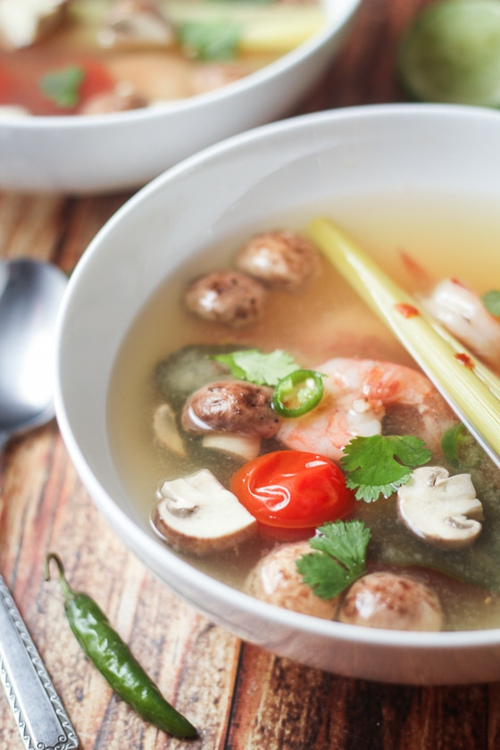 Thai Tom Yum Soup with Shrimp - a quick and easy recipe for authentic Tom Yum soup!