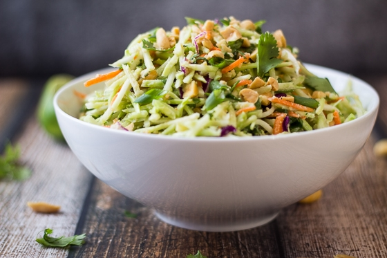 This Thai Slaw recipe uses broccoli slaw and a Thai peanut ginger dressing for a tasty side dish you can make in 5 minutes!