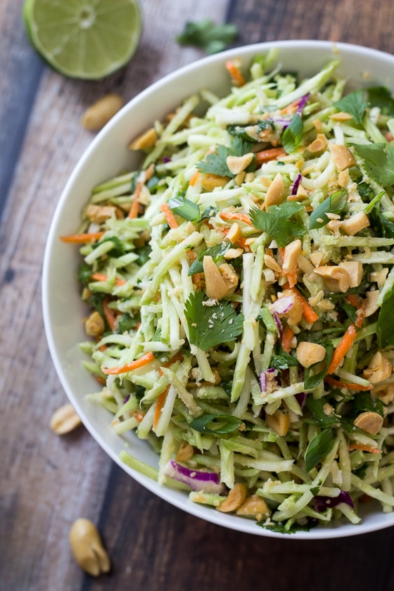 Easiest Ever 5-Minute Thai Peanut Ginger Slaw: This Thai Slaw recipe uses broccoli slaw and a Thai peanut ginger dressing for a tasty side dish you can make in 5 minutes!