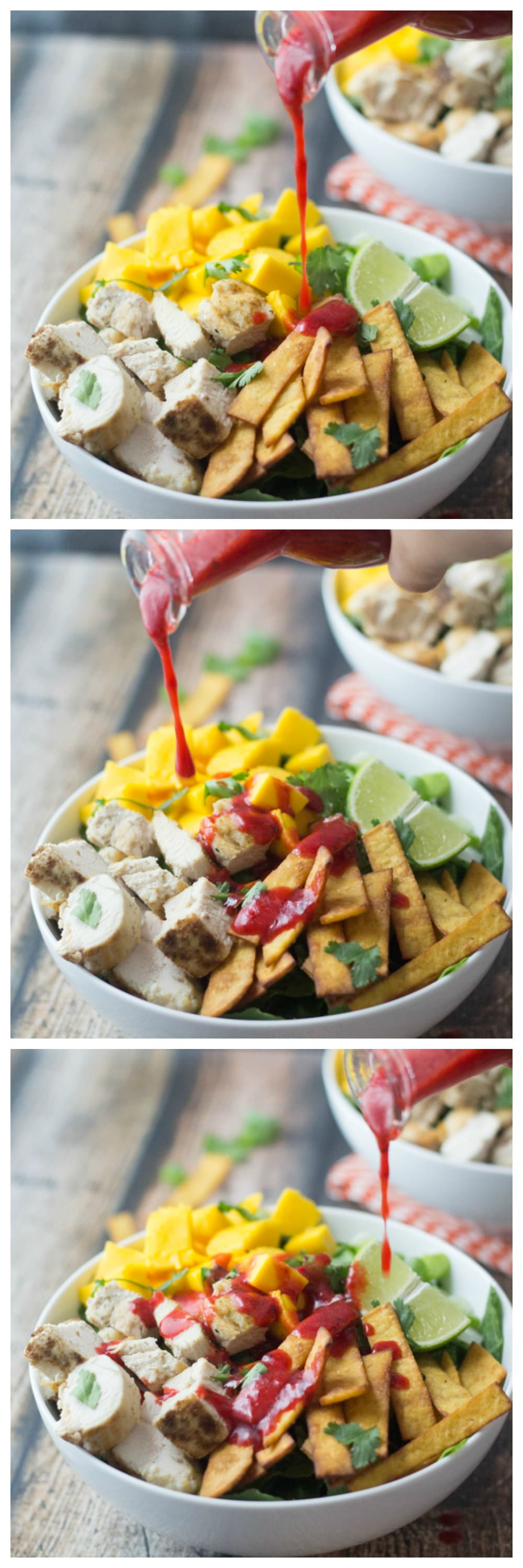 This Mexican Chicken Salad recipe with romaine lettuce, mangoes, green onions, tortilla strips, cilantro and seasoned chicken will delight you especially with the homemade Chipotle Raspberry Dressing!