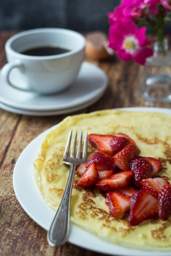 Swedish Pancakes with Strawberries