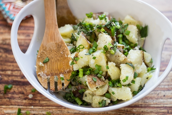 This Lebanese Potato Salad recipe is a tasty mix of potatoes, scallions, garlic, mint, lemon juice, salt, pepper and olive oil.