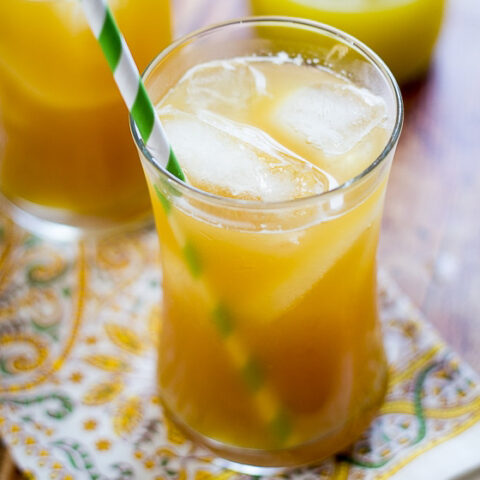 This Pineapple Ginger Iced Tea recipe combines fresh pineapple, ginger and unsweetened iced tea for a delicious and refreshing pineapple tea drink.