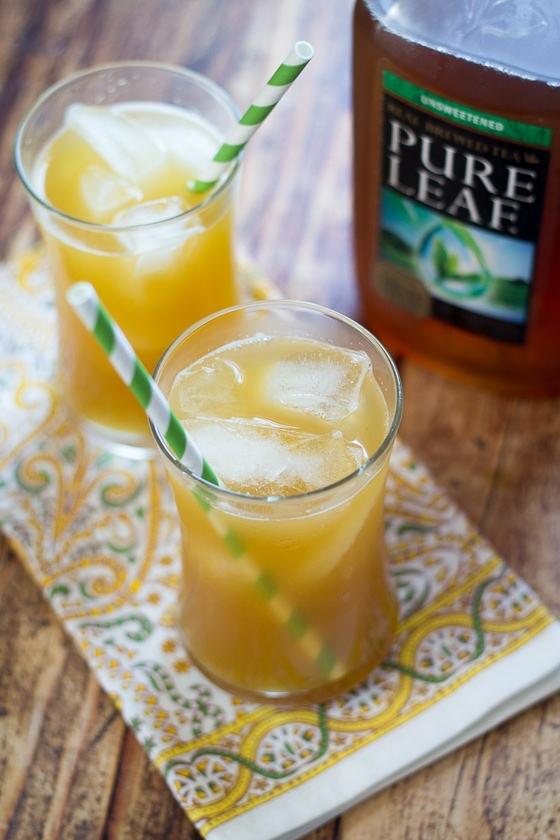 This Pineapple Ginger Tea recipe combines fresh pineapple, ginger and unsweetened iced tea for a delicious and refreshing pineapple tea drink.