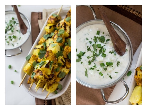 Curried Chicken & Pineapple Skewers with Cucumber-Yogurt Sauce