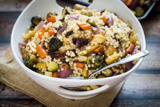Warm Israeli Couscous Salad with Roasted Vegetables - The Wanderlust ...