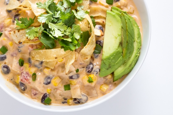 Creamy Chicken Enchilada Soup - a one pot meal that's done in under 30 minutes!