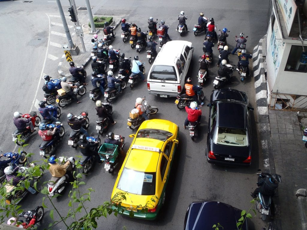 A busy intersection in Bangkok - who needs lines?