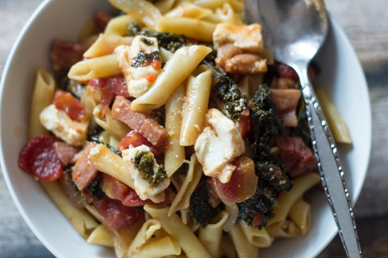 This quick and easy pasta with Ham, Feta, and Kale is the perfect way to use up leftovers on a busy night!