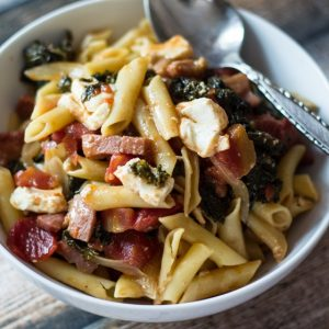 Quick and Easy Pasta with Ham, Kale, and Feta