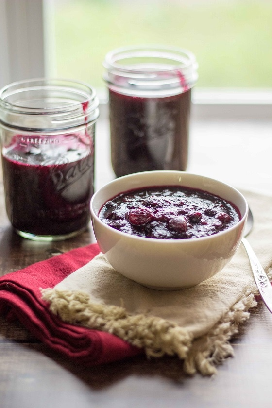 Blueberries add a little something special to this quick and easy cranberries and blueberries sauce recipe. Freeze the leftovers to pour over pancakes or stir into sangria!