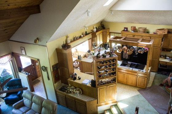 The Kitchen from the top of the stairs. Don't you just love all of that oak? ;)