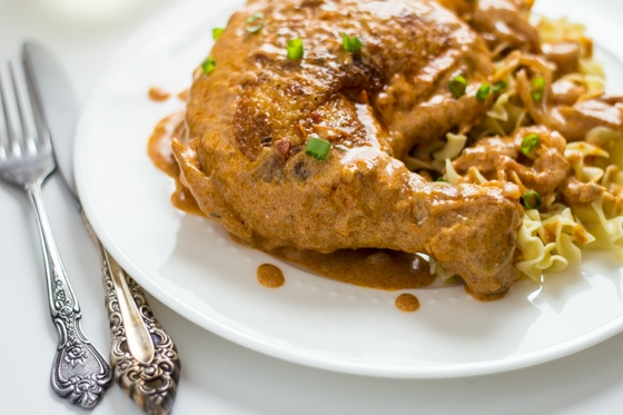 Hungarian Chicken Paprikash - tender chicken cooked in a sauce of paprika and sour cream. Delish!