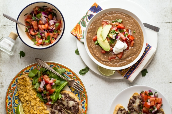 Easy Mexican Pinto Bean Soup Recipe - tastes like 7-layer dip, without the guilt!