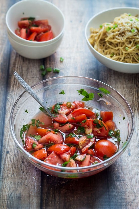 Looking for Thai side dishes? This tomato side dish is a great one! Thai Tomato Salad - 5 minutes, 5 ingredients. The perfect side dish!