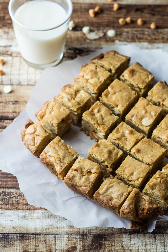 Brown butter and white chocolate give these butterscotch blondies a  flavor to love, bite after bite!