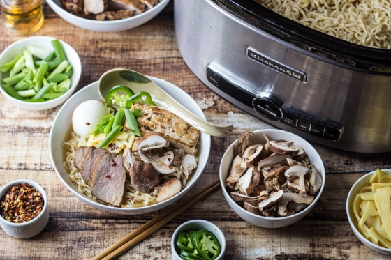 This delicious Ramen Broth recipe allows you to host an inspired dinner with a build your own ramen bowl party your friends will love!