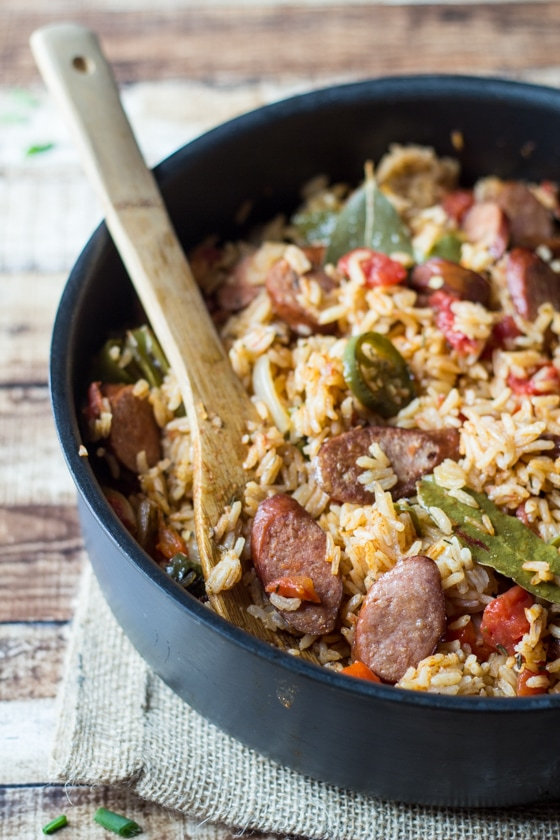 One pan and 30 minutes is all you need to make this Spicy Southern Sausage and Rice!