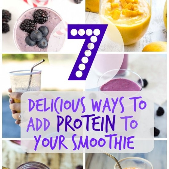 7 Delicious Ways to Add Protein to Your Smoothie: a fun list (with links to recipes!) of ways you can bulk up your smoothies and stave of the hanger beast!