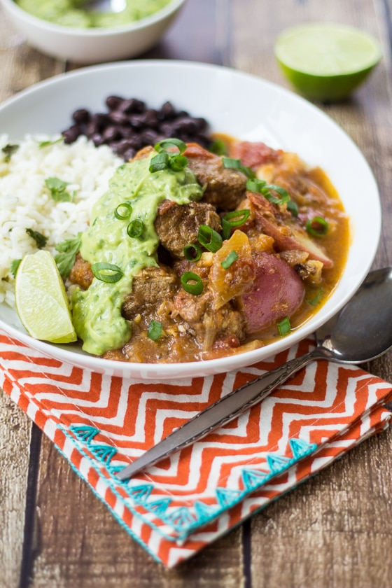 Looking for Colombian recipes? Here is a great one! Colombian Beef Stew (Carne Guisada) - I could put that creamy avocado-cilantro sauce on ANYTHING!