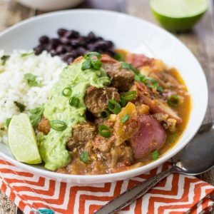 Savory beef, tender potatoes, and a richly spiced sauce make this Colombian Beef Stew a new twist on an old classic. Topped with creamy avocado-cilantro sauce, this satisfying dinner will quickly become a family favorite!