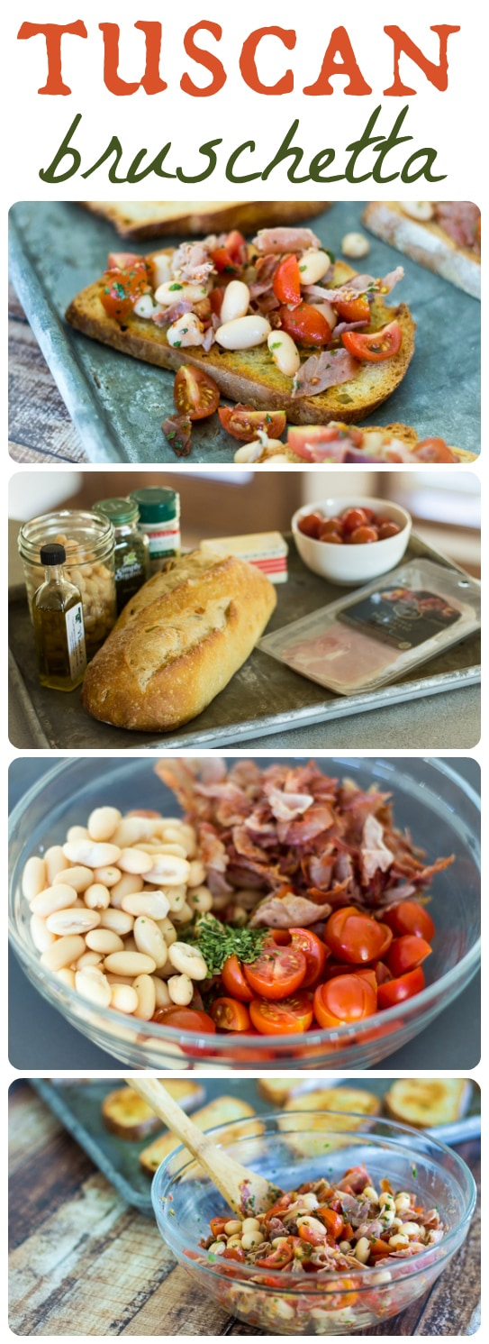 Savory prosciutto and creamy white beans make this Tuscan Bruschetta especially hearty and satisfying!