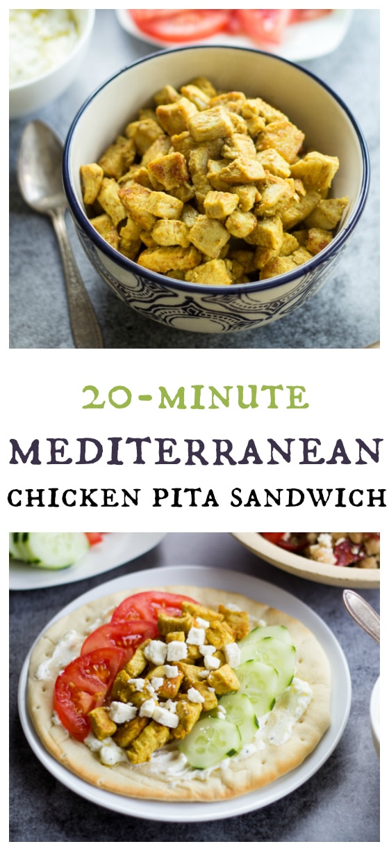 Twenty minutes is all you need to whip up this simple yet satisfying Mediterranean Chicken Pita Sandwich!