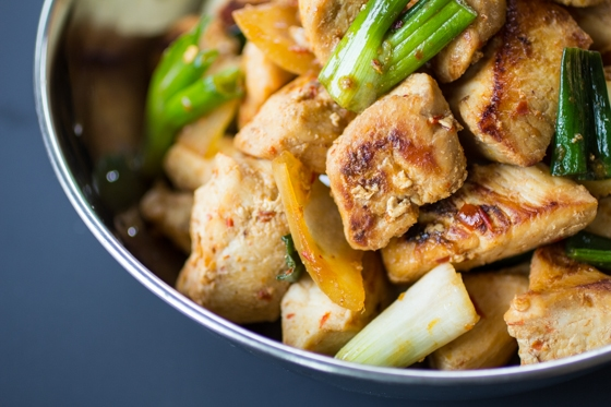 Simple ingredients are brought to life with a hot chili sambal sauce in this simple Malaysian Stir Fried Chicken!