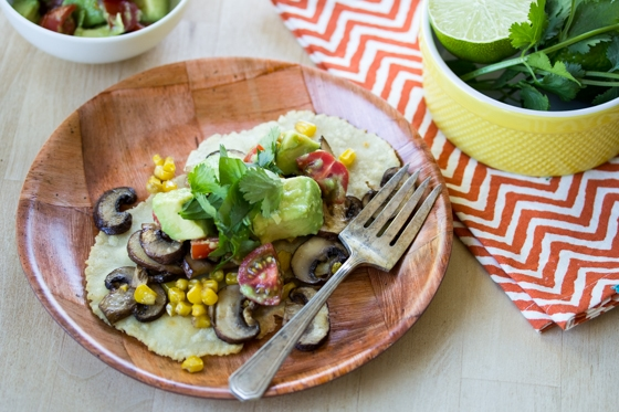 Vegan Roasted Corn & Mushroom Tostadas