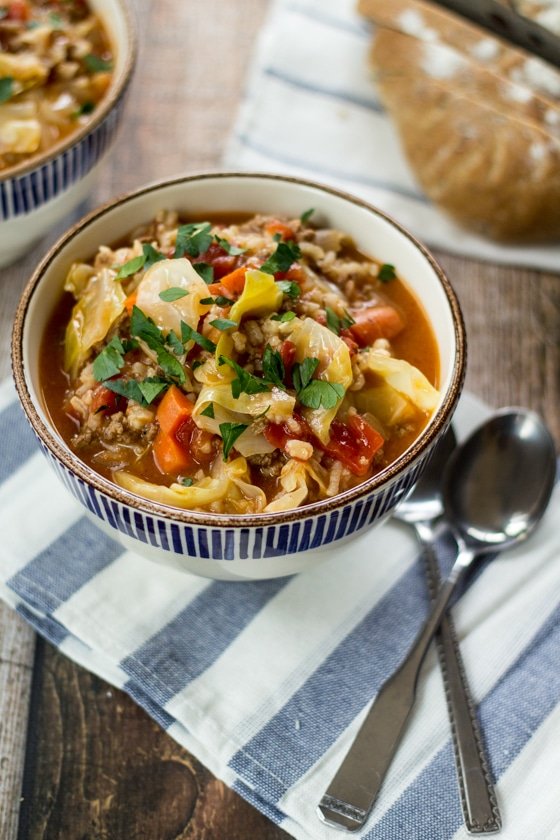 Looking for Russian recipes? Try this one! All of the flavor of homemade cabbage rolls without the hard work of rolling them. This cabbage roll soup hits the spot every time!