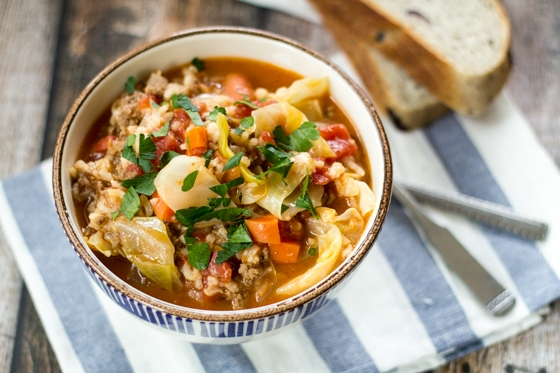 All of the flavor of homemade cabbage rolls without the hard work of rolling them. This cabbage rolls soup recipe hits the spot every time!