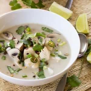 Creamy coconut milk and tender poached chicken make this Thai style Tom Kha Gai hearty and satisfying!