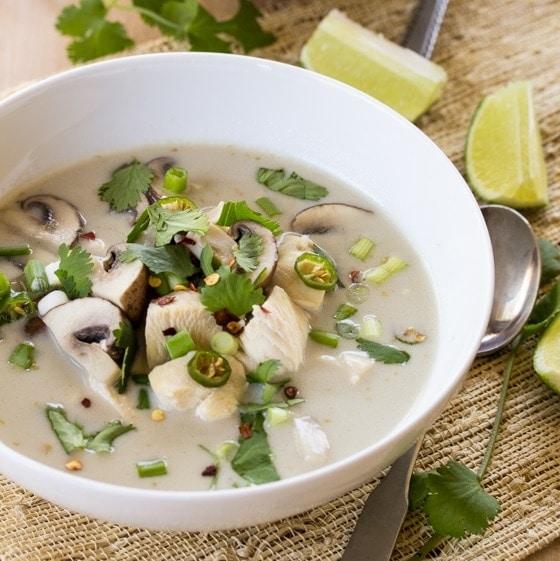 Thai Coconut Chicken Soup (Tom Kha Gai) With Mushrooms ...