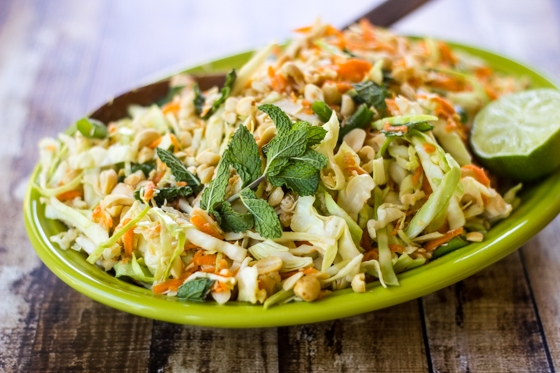 Fragrant mint, crunchy peanuts, and fresh-squeezed lime juice bring bold flavor to this Vietnamese Cabbage Salad!