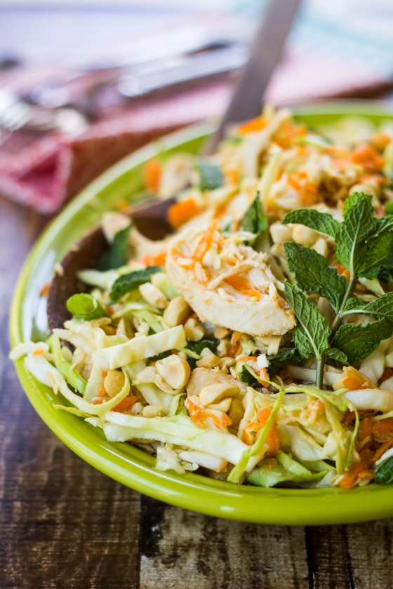 Fragrant mint, crunchy peanuts, and fresh-squeezed lime juice bring bold flavor to this Vietnamese Chicken Cabbage Salad!