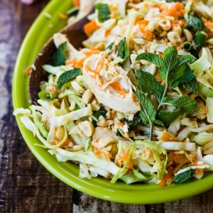 Fragrant mint, crunchy peanuts, and fresh-squeezed lime juice bring bold flavor to this Vietnamese Chicken and Cabbage Salad!