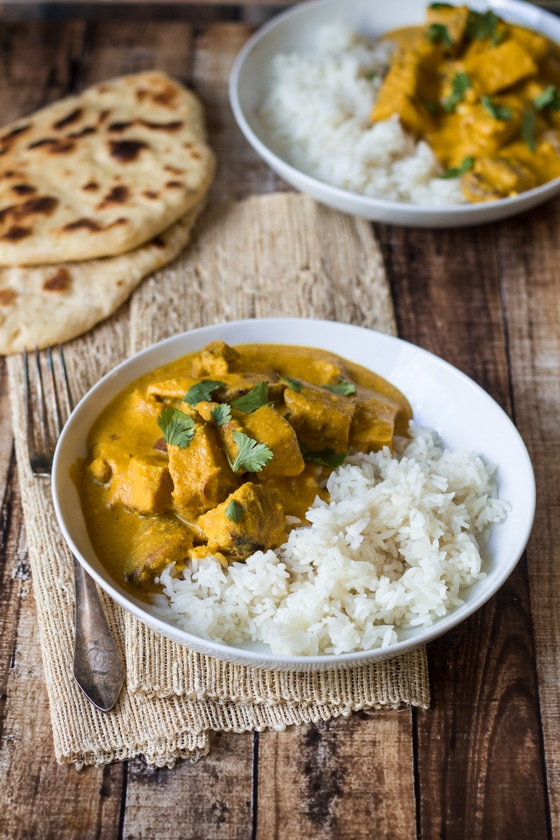 Creamy cashews add a velvety richness to this flavorful Indian Cashew Chicken Curry - pair with homemade naan bread for the perfect meal! This Indian Cashew Curry Chicken is delicious, especially the cashew curry sauce!