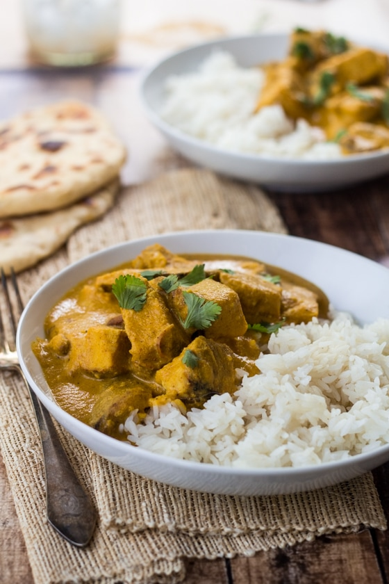 Creamy cashews add a velvety richness to this flavorful Indian Chicken Curry - pair with homemade naan bread for the perfect meal! This Indian cashew curry is delicious!