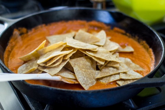 Use up your stale tortillas to make these delicious Mexican Chilaquiles Rojos!