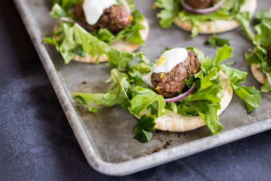 These miniature Turkish Kofte Pita bites are loaded with bold spices, tangy yogurt sauce, and greens tossed in a bright dressing. Try something new for dinner tonight!