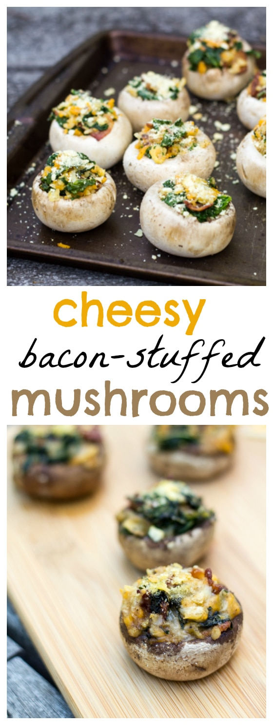 This Cheesy Bacon Stuffed Mushrooms recipe is delicious, easy and makes a great appetizer for your next get together.
