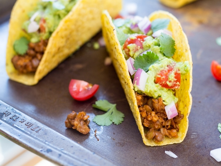 This is a great vegan taco recipe! Seasoned lentils and bulgur stand in for taco meat in these easy vegan tacos!