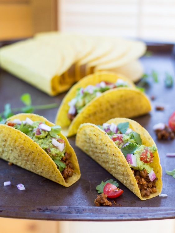 Looking for vegan lentil recipes? This is a great one! Seasoned lentils and bulgur stand in for taco meat in these easy vegan tacos!