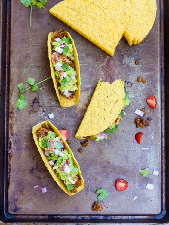 Looking for a lentil tacos recipe? This is the one! Seasoned lentils and bulgur stand in for taco meat in these easy vegan tacos!